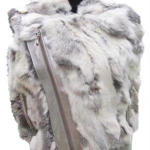 Cache Metallic Leather Fur Vest Diagonal Zipper